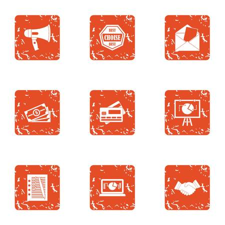 Riot money icons set. Grunge set of 9 riot money vector icons for web isolated on white background
