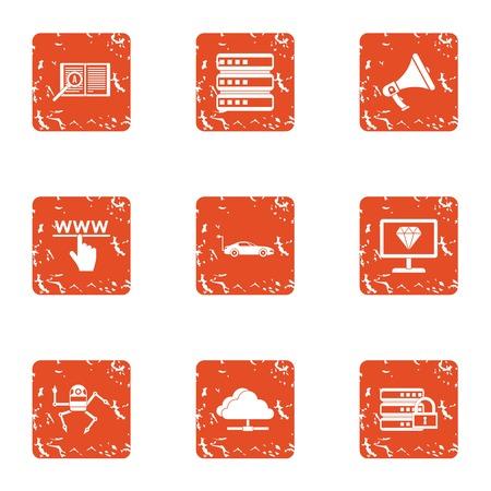 Spider web icons set. Grunge set of 9 spider web vector icons for web isolated on white background Illustration