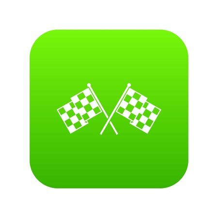 Checkered racing flags icon digital green for any design isolated on white vector illustration