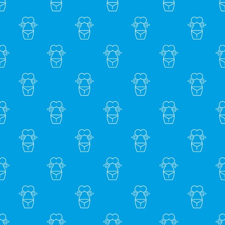Spa body silhouette pattern vector seamless blue