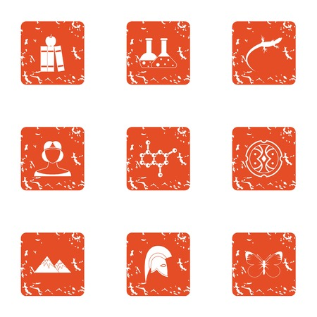 DNA test icons set, grunge style