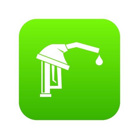 Gasoline pump nozzle icon digital green Illustration
