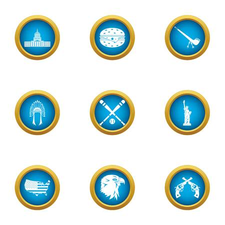 Country border icons set. Flat set of 9 country border vector icons for web isolated on white background Illustration