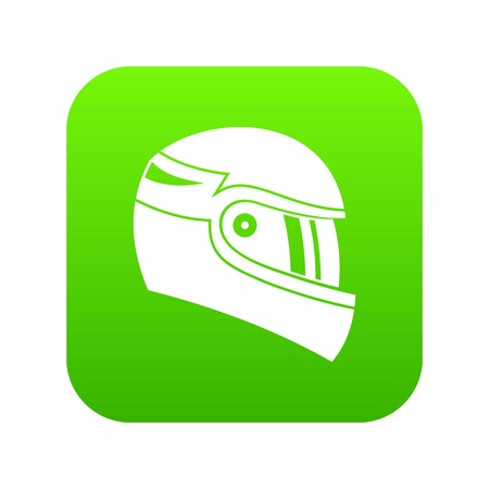 Racing helmet icon digital green for any design isolated on white vector illustration