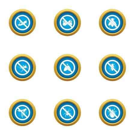 Interdiction icons set, flat style