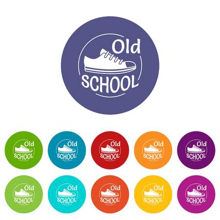 Old school icons set vector color