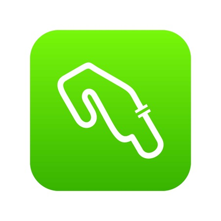 Race circuit icon digital green for any design isolated on white vector illustration