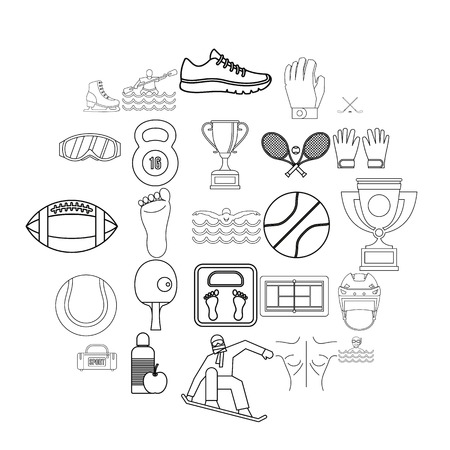 Professional athlete icons set. Outline set of 25 professional athlete vector icons for web isolated on white background