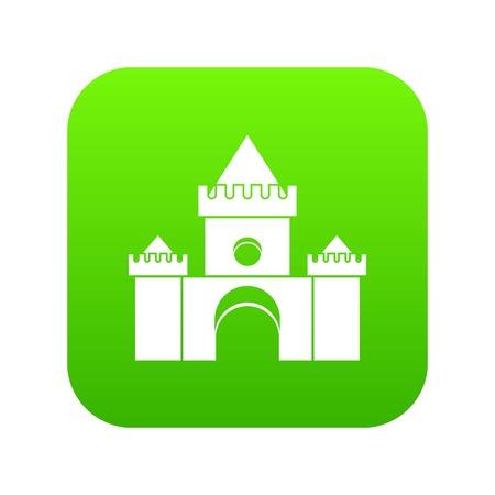 Fairytale castle icon digital green Illustration
