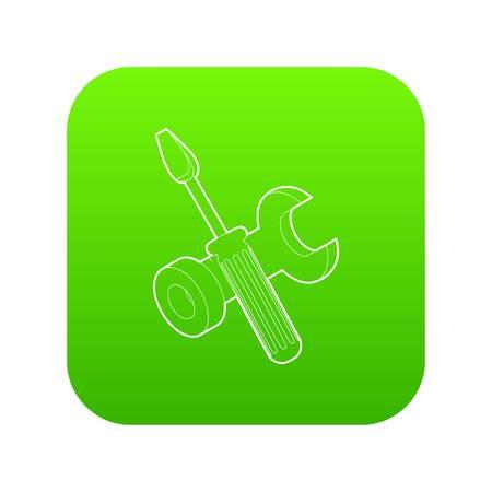 Bolt driver icon green vector Illustration