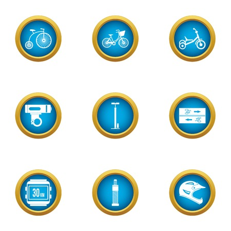 Cycleway icons set. Flat set of 9 cycleway vector icons for web isolated on white background Foto de archivo - 130231953