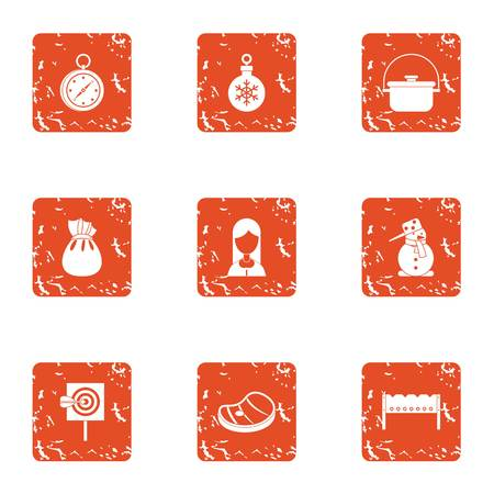 Winter attitude icons set. Grunge set of 9 winter attitude vector icons for web isolated on white background Иллюстрация