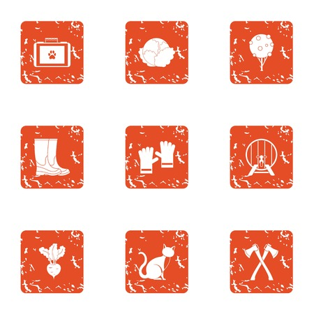 Bestial rural icons set. Grunge set of 9 bestial rural vector icons for web isolated on white background Ilustração