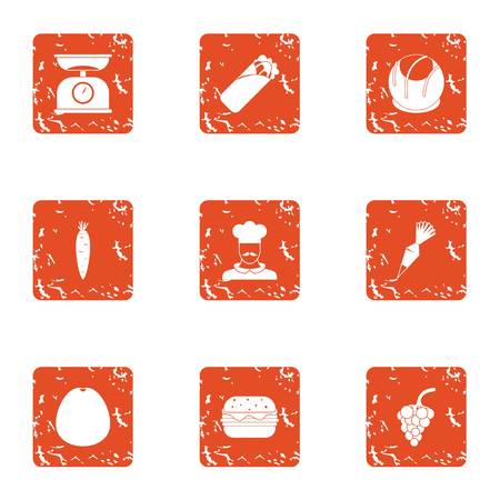 Head icons set. Grunge set of 9 head vector icons for web isolated on white background Illustration