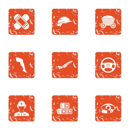 State security icons set. Grunge set of 9 state security vector icons for web isolated on white background