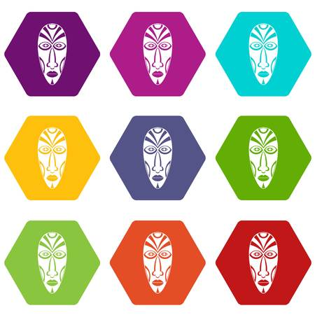 African mask icons set 9 vector