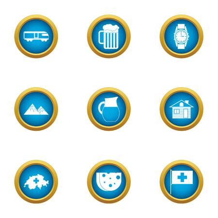Mountain food icons set. Flat set of 9 mountain food vector icons for web isolated on white background Banco de Imagens - 130231991