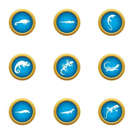 Viviparous lizard icons set. Flat set of 9 viviparous lizard vector icons for web isolated on white background