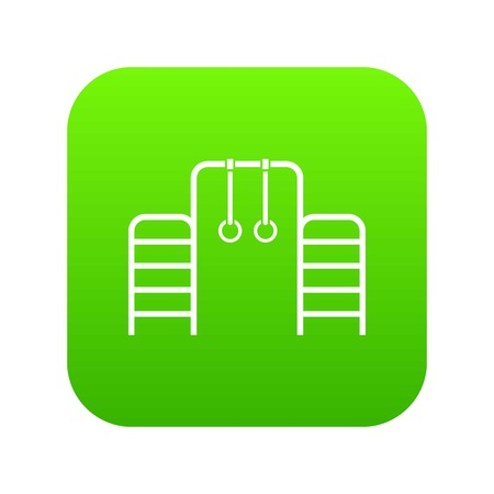 Horizontal bar with climbing rings and ladder icon digital green for any design isolated on white vector illustration