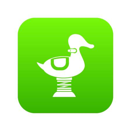 Duck spring see saw icon digital green for any design isolated on white vector illustration