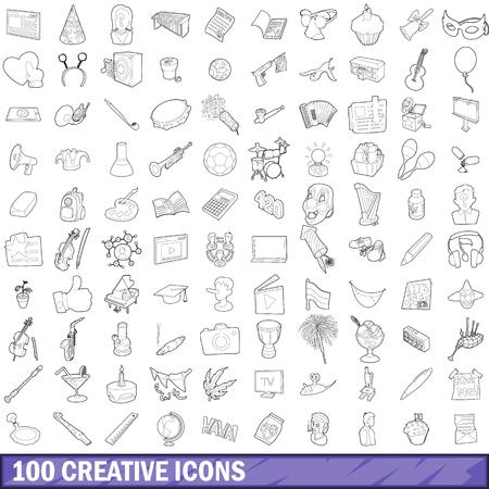 在概述样式的100个创造性的象为任何设计例证