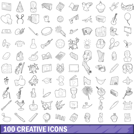 100 creative icons set in outline style for any design illustration