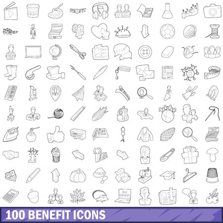 100 benefit icons set, outline style