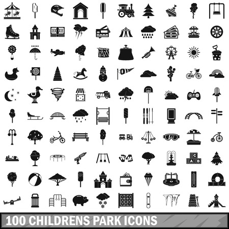 100 childrens park icons set, simple style Foto de archivo - 110265518