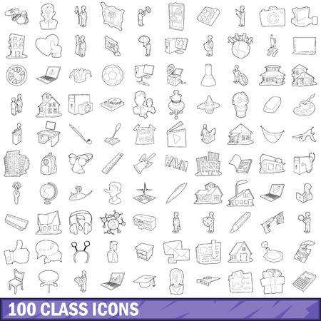 100 class icons set, outline style Imagens