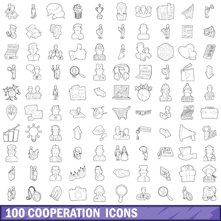 100 cooperation icons set, outline style