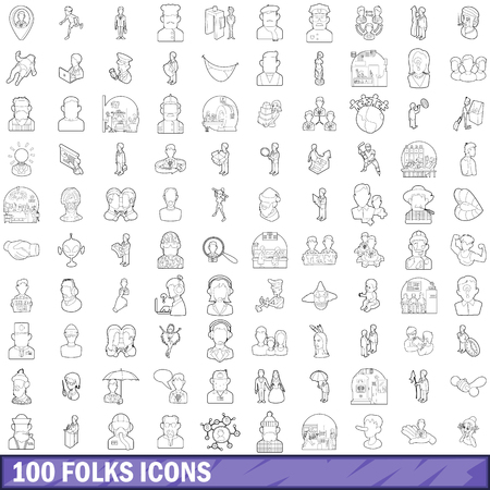 100 folks icons set, outline style