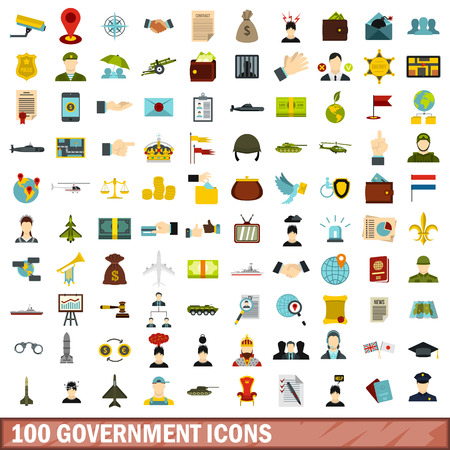100 government icons set, flat style