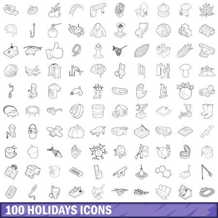 100 holidays icons set, outline style Banco de Imagens