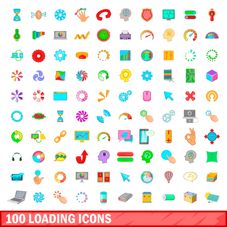 100 loading icons set, cartoon style Stock Photo