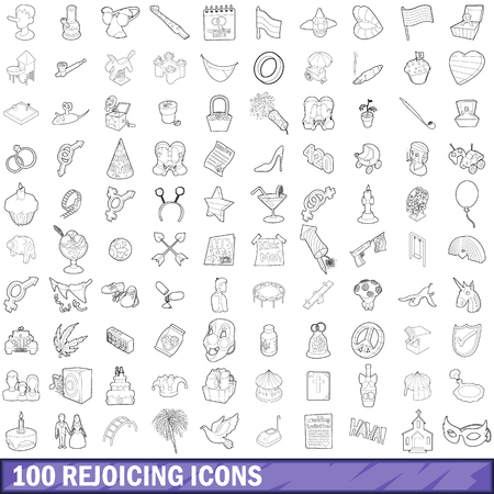 100 rejoicing icons set, outline style