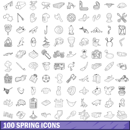 100 spring icons set, outline style