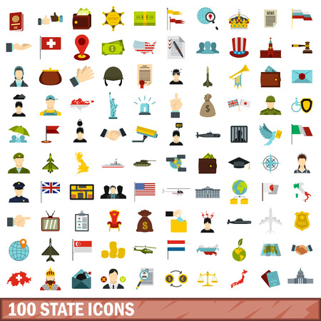 100 state icons set, flat style