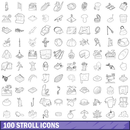 100 stroll icons set, outline style
