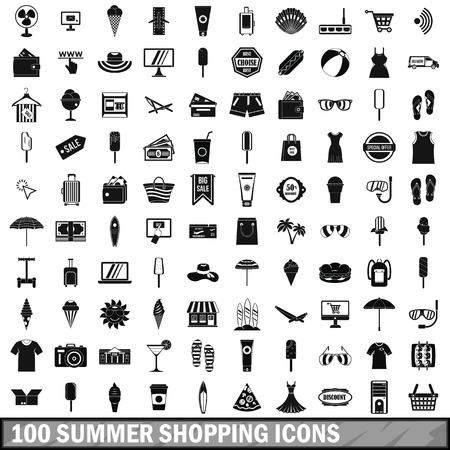 100 summer shopping icons set, simple style Banco de Imagens