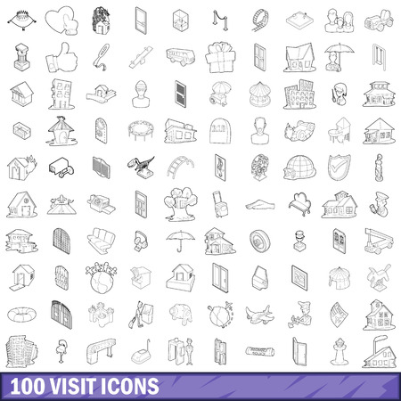 100 visit icons set, outline style