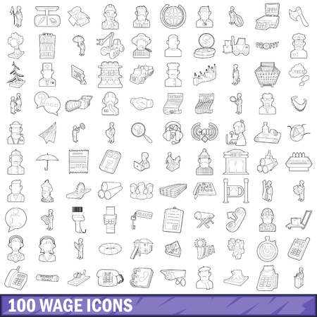 100 wage icons set, outline style