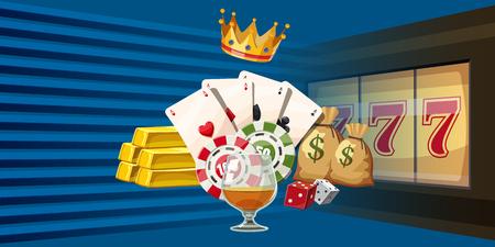 Casino games horizontal banner, cartoon style