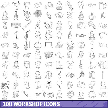 100 workshop icons set, outline style Imagens
