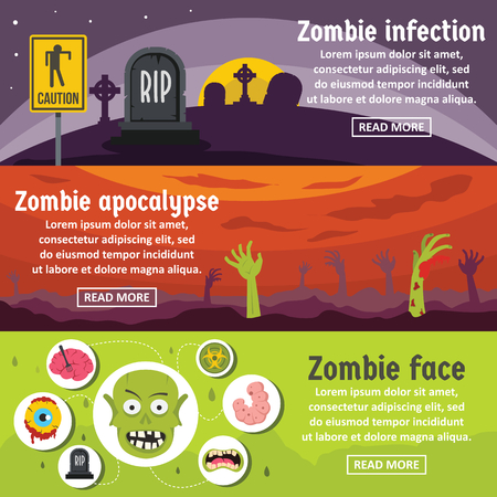 Zombie coming banner horizontal set, flat style