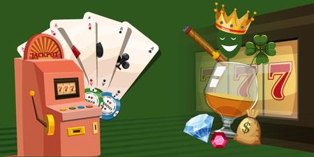 Casino gambling horizontal banner, cartoon style