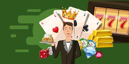 Casino croupier horizontal banner, cartoon style Stock Photo