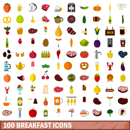 100 breakfast icons set, flat style