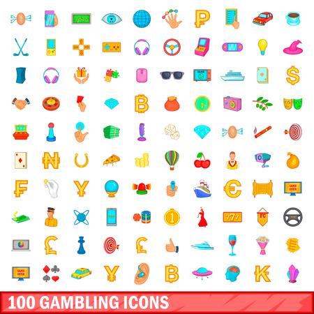 100 gambling icons set, cartoon style Stock Photo