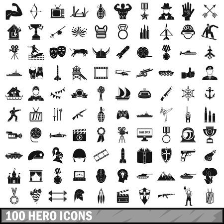 100 hero icons set, simple style 스톡 콘텐츠