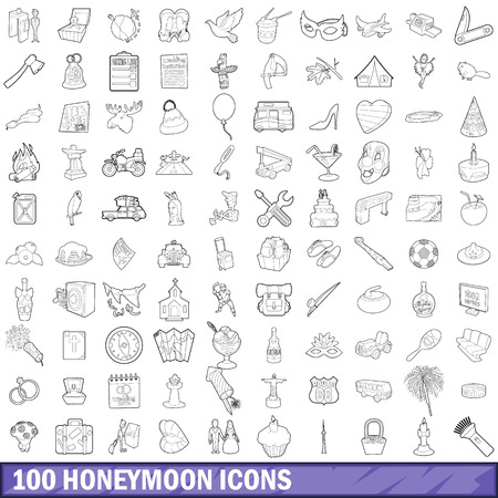 100 honeymoon icons set, outline style Banque d'images - 110266060